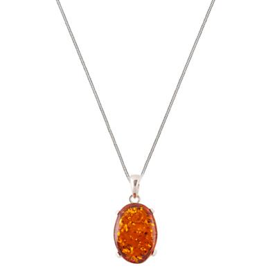 BeJewelled Sterling Silver Cognac Amber Claw Set Pendant Necklace Orange