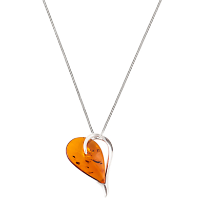 BeJewelled Sterling Silver Cognac Amber Heart Pendant Necklace Orange