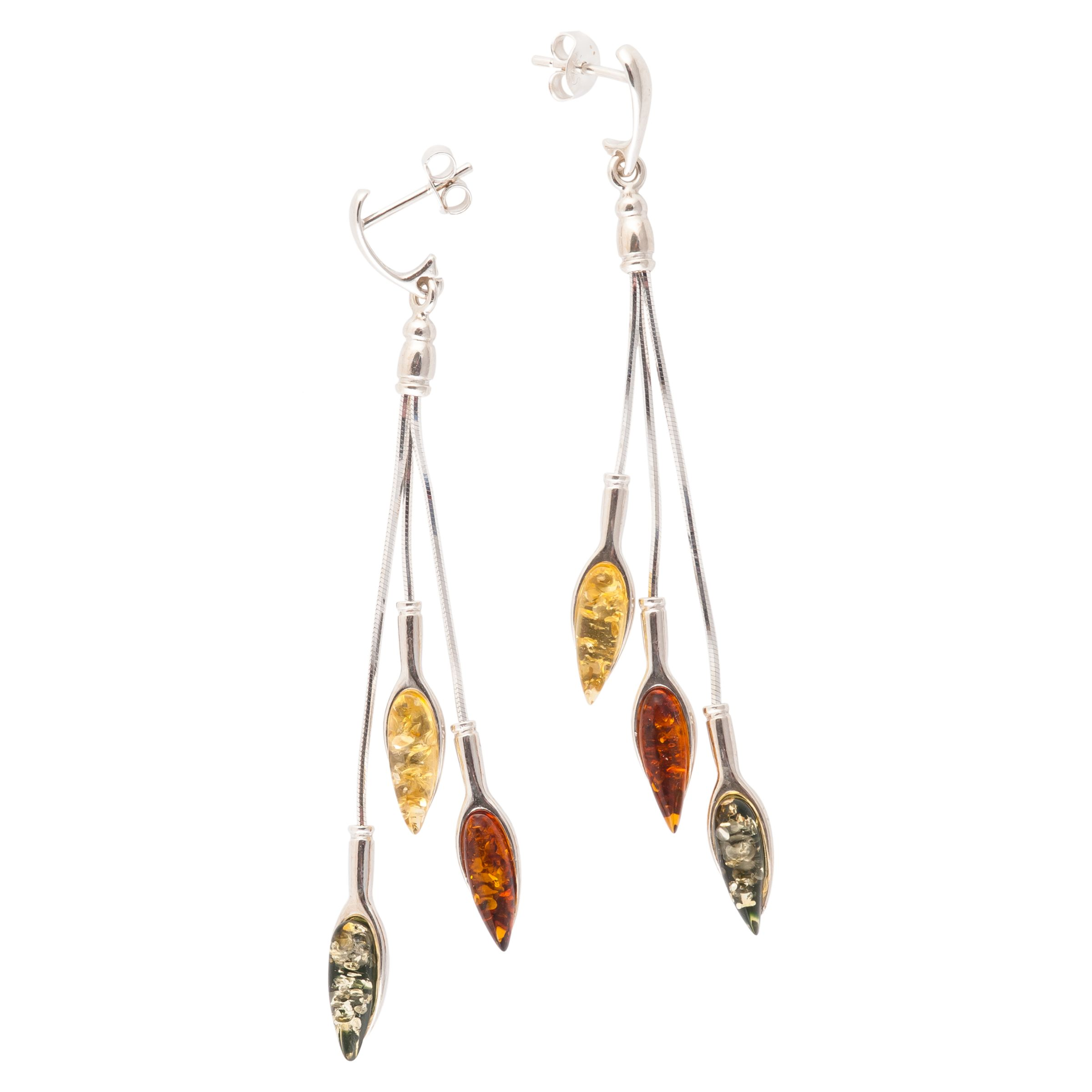 Be-Jewelled Be-Jewelled Sterling Silver Multicoloured Amber Drop Earrings