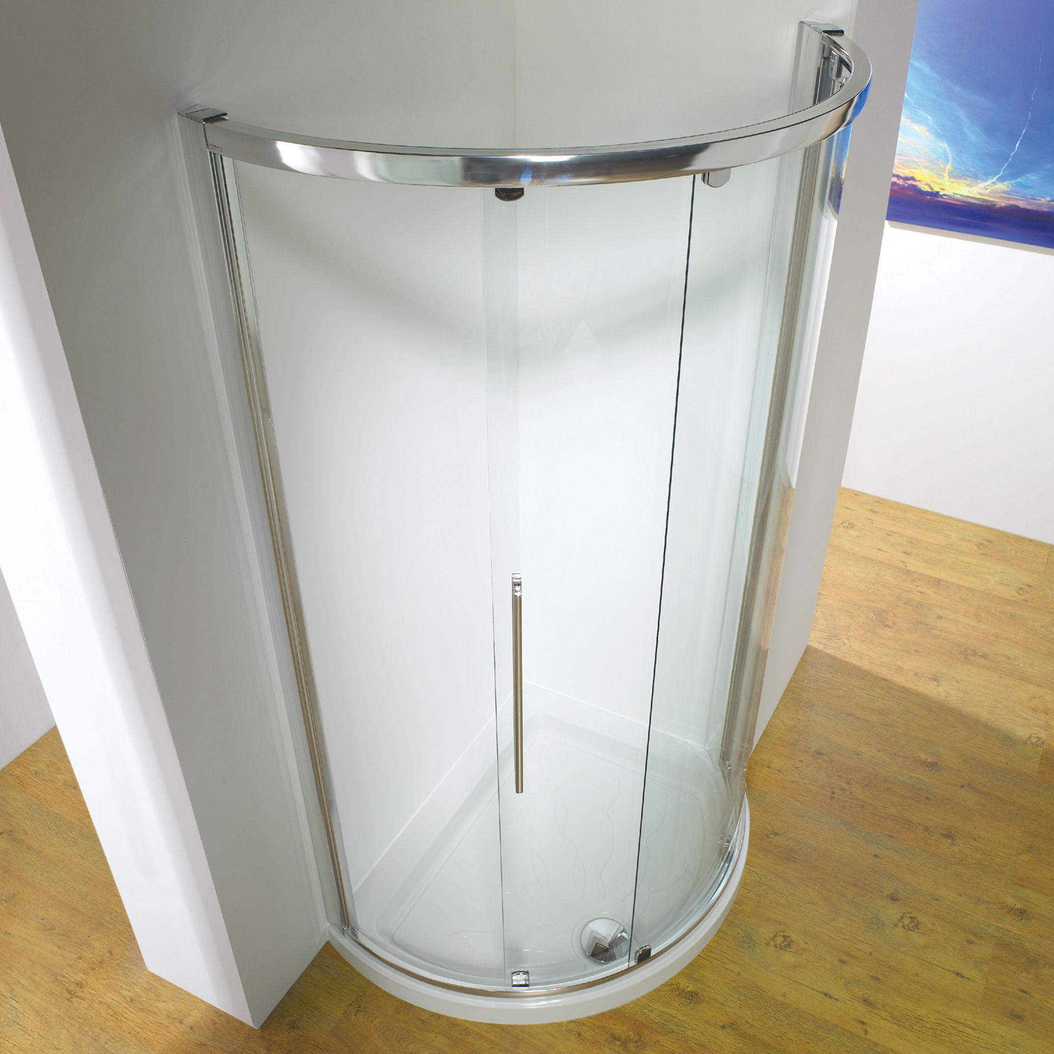 John Lewis Partners 100 X 81cm Shower Enclosure With Curved Sliding Central Door