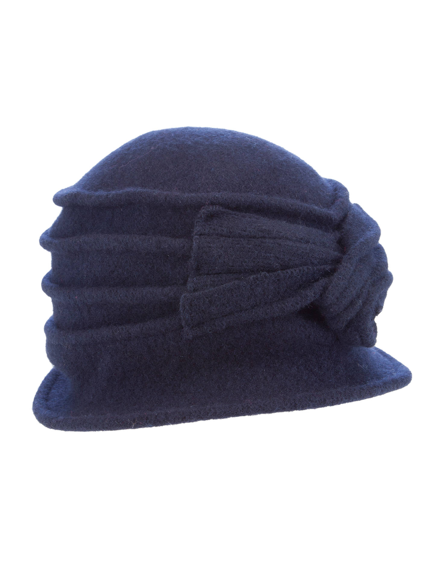 Buy John Lewis Wool Pleat Bow Cloche Hat, Navy Online at johnlewis.com