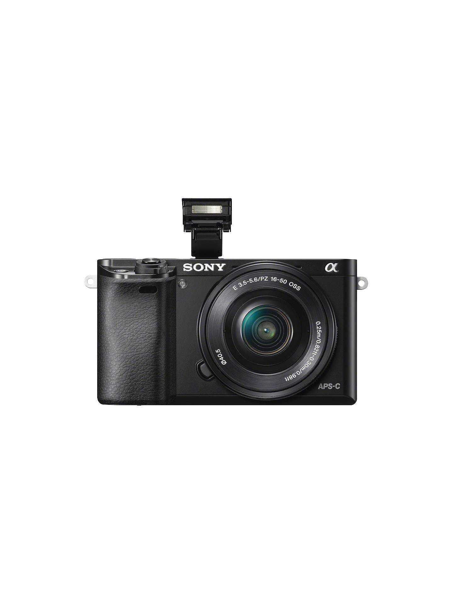 "BuySony A6000 Compact System Camera with 16-50mm OSS Lens, HD 1080p, 24.3MP, Wi-Fi, NFC, OLED EVF, 3"" Tilting Screen, Black Online at johnlewis.com"