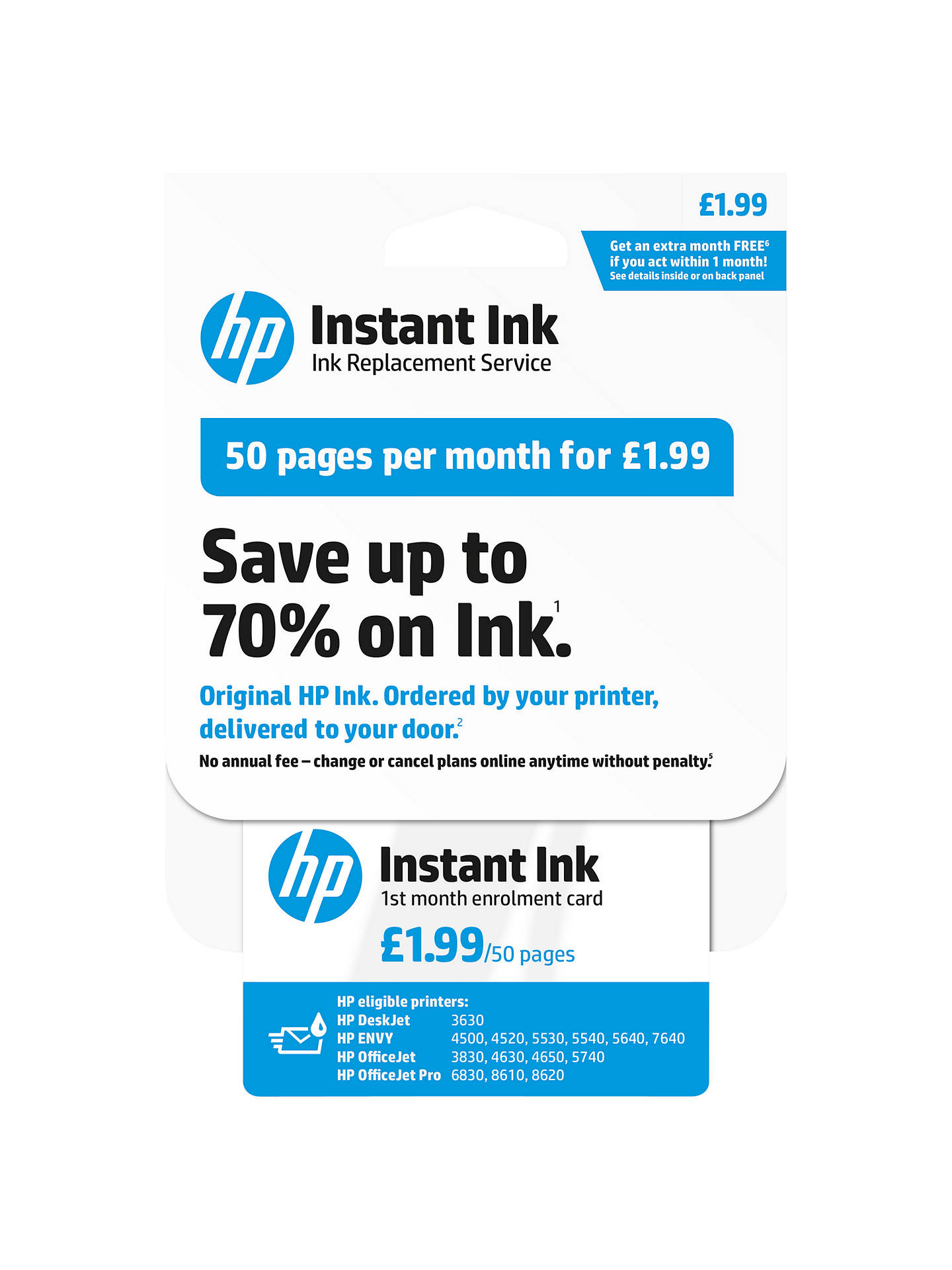 HP Instant Ink Enrolment Card, 50 Pages at John Lewis & Partners