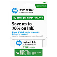 Buy HP Instant Ink Enrolment Card, 100 Pages Online at johnlewis.com