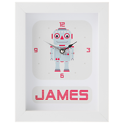 Stripey Cats Personalised Robot Framed Clock, 23 x 18cm, Blue