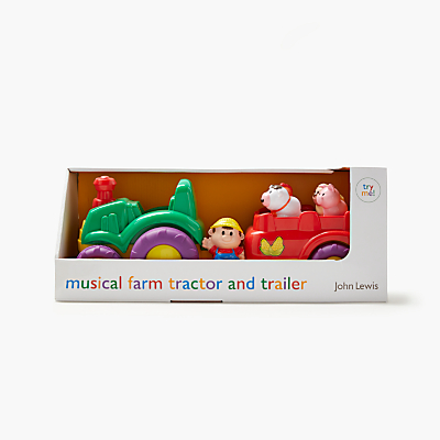 Image of John Lewis & Partners Musical Farm Tractor & Trailer Playset