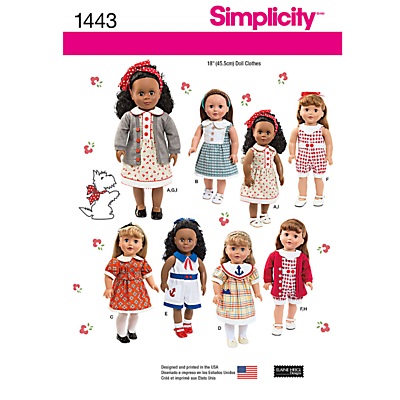 Product photo of Simplicity dolls clothes sewing pattern 1443