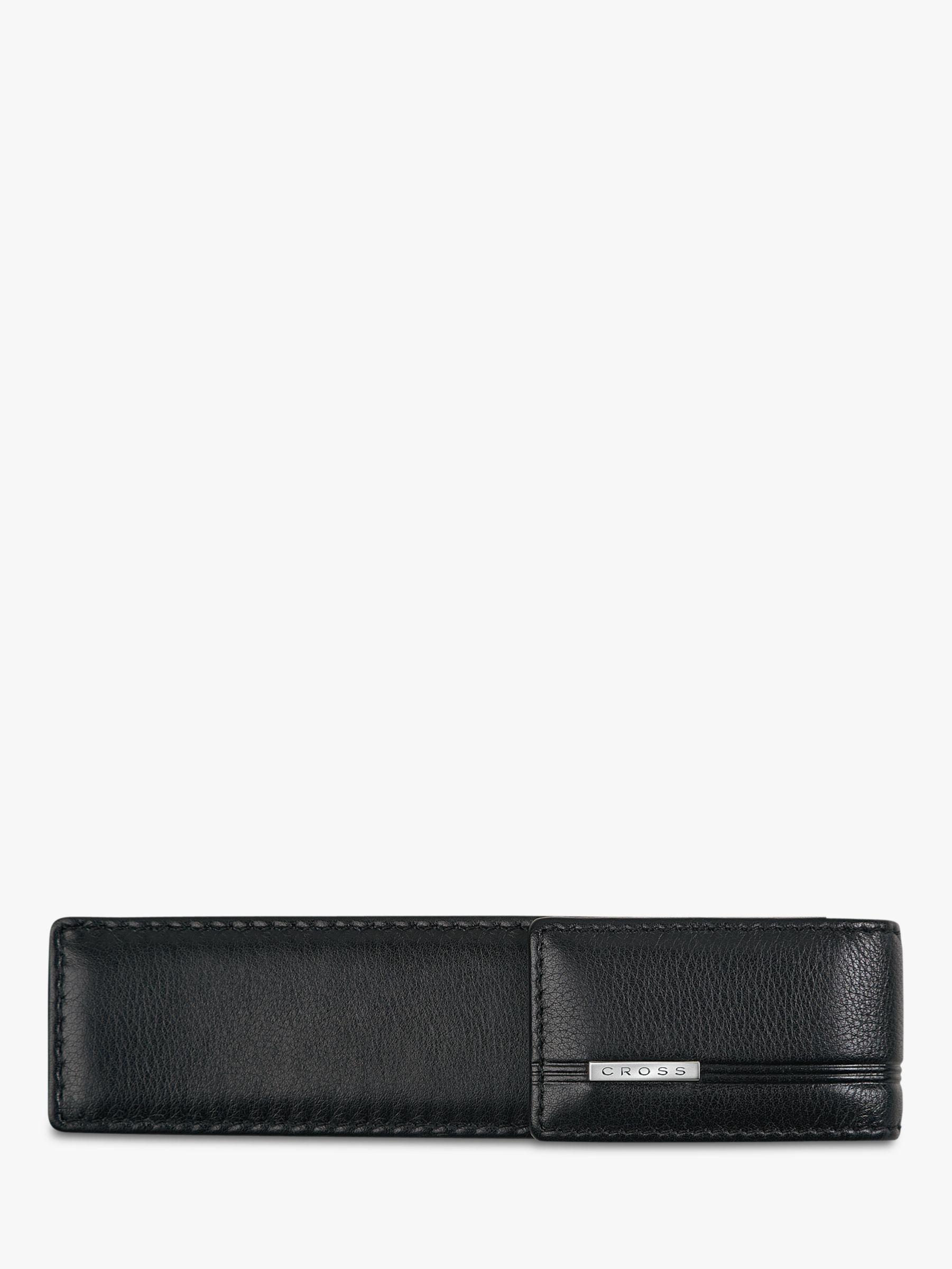 Cross Cross Leather Double Pen Case, Black