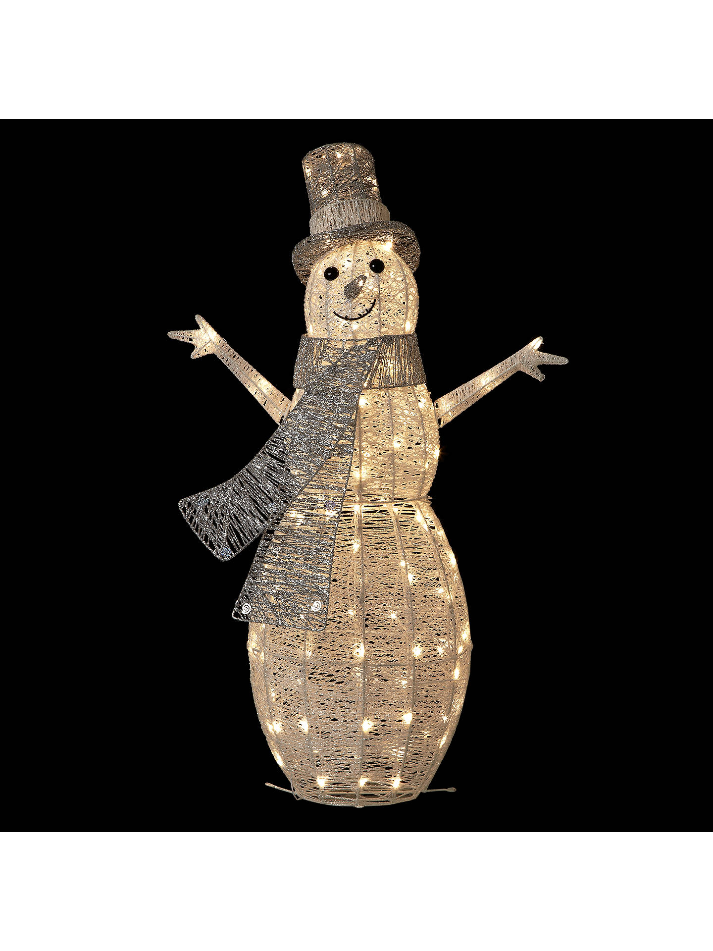 Buy John Lewis Pre-Lit Snowman Light, Silver/White Online at johnlewis.com