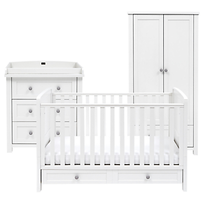 Silver Cross Nostalgia Cotbed, Dresser and Wardrobe, Antique White/Silver