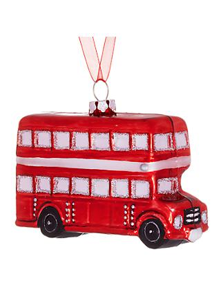 John Lewis & Partners Tourism Glass London Bus Decoration, Red