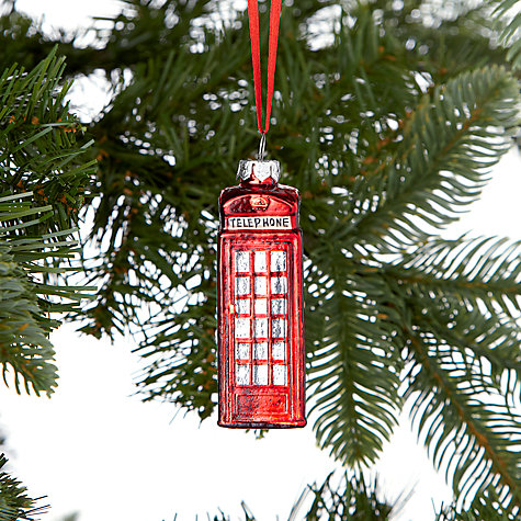 Buy John Lewis Tourism Glass Telephone Box Decoration Red