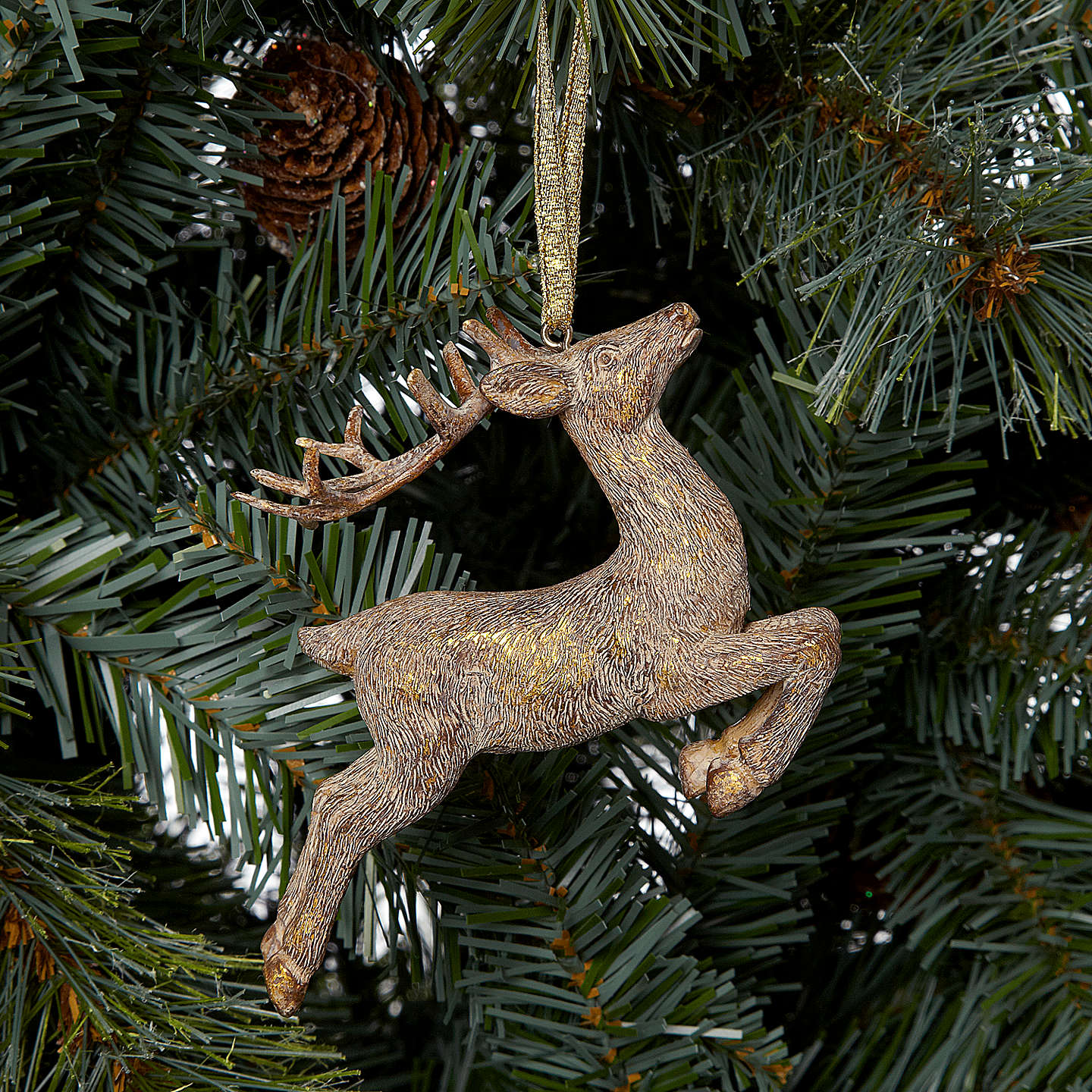 BuyJohn Lewis Leaping Reindeer Decoration, Gold Online at johnlewis.com