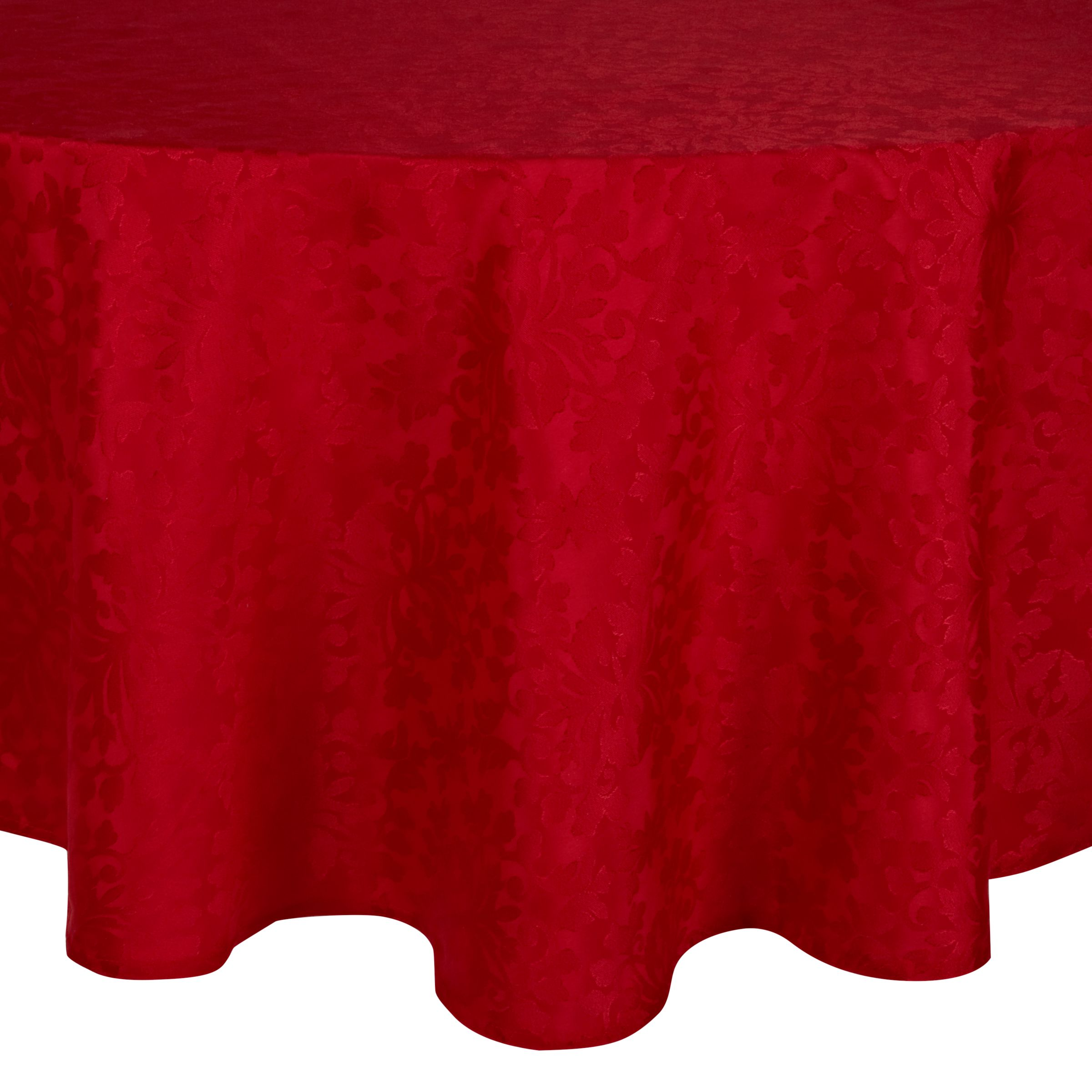 John Lewis Damask Oval Tablecloth Red 160 X 250cm At John Lewis Partners