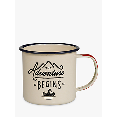 Gentlemen's Hardware Enamel Mug, White/Blue