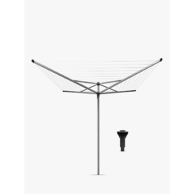 Brabantia Topspinner Rotary Clothes Airer Washing Line with Plastic Ground Tube, 50m