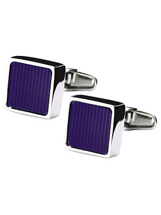 Buy Denison Boston Mindy Stripe Cufflinks, Purple Online at johnlewis.com