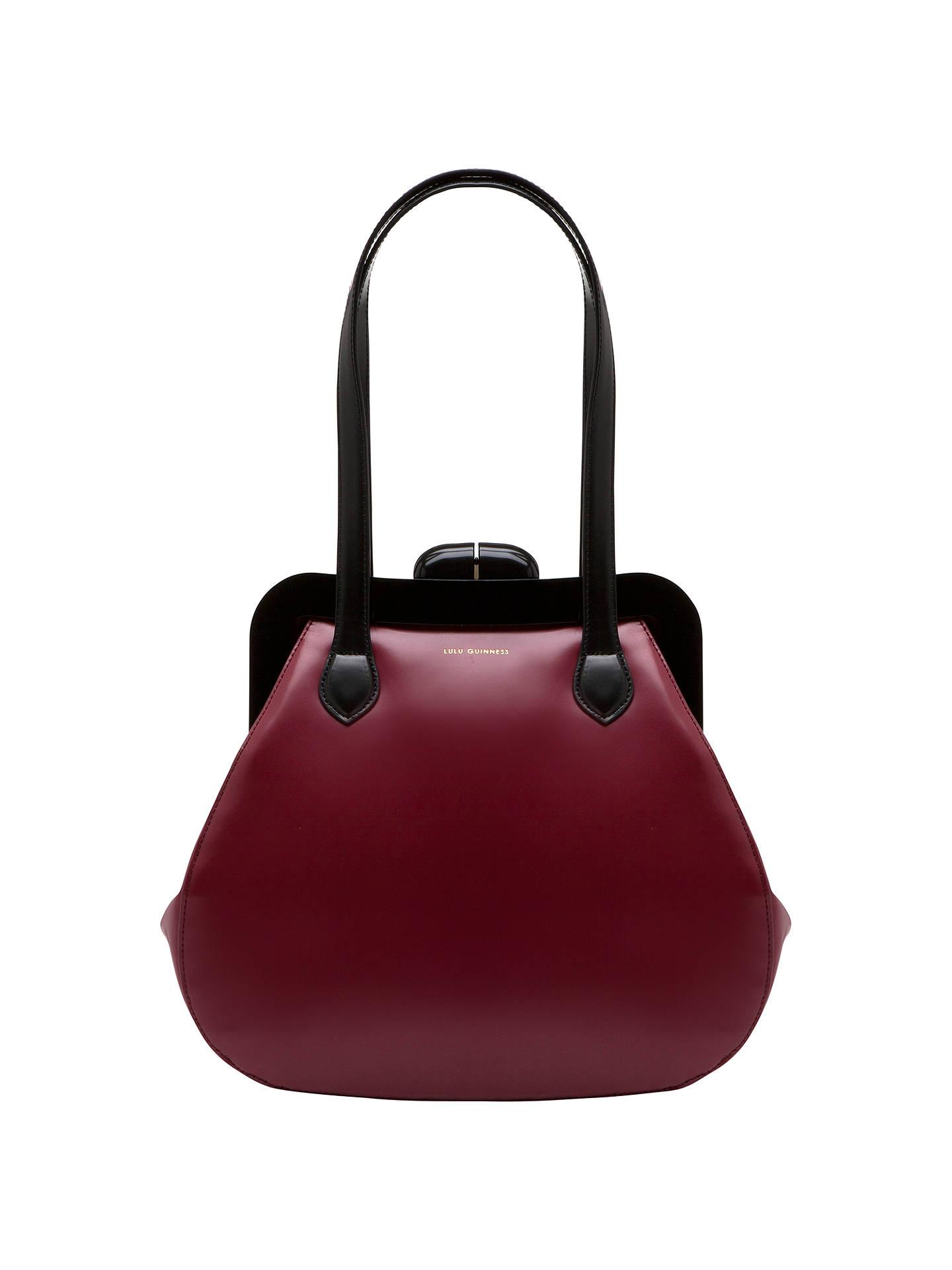 Lulu Guinness Mid Pollyanna Patent Leather Shoulder Handbag Burgundy