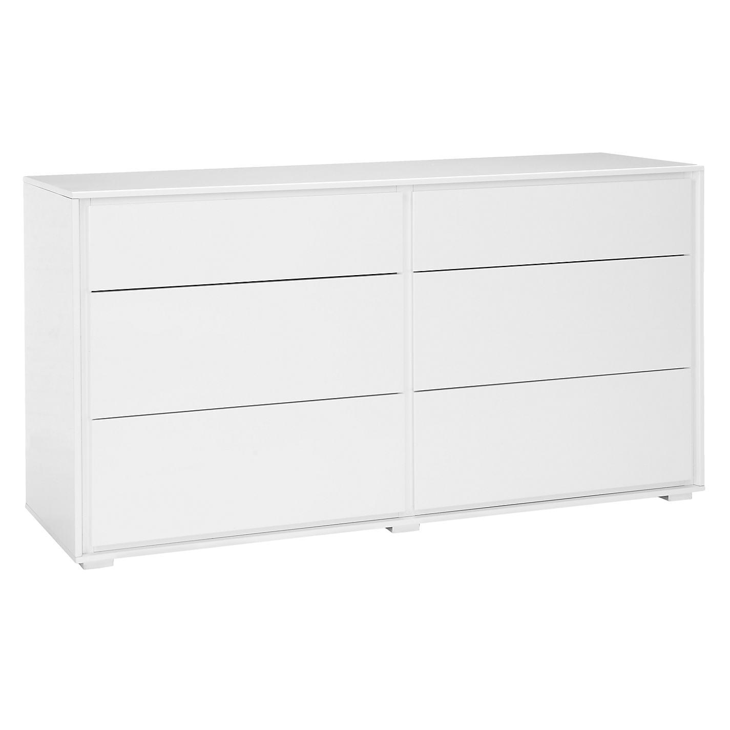 buy john lewis napoli gloss 6 drawer chest white online at