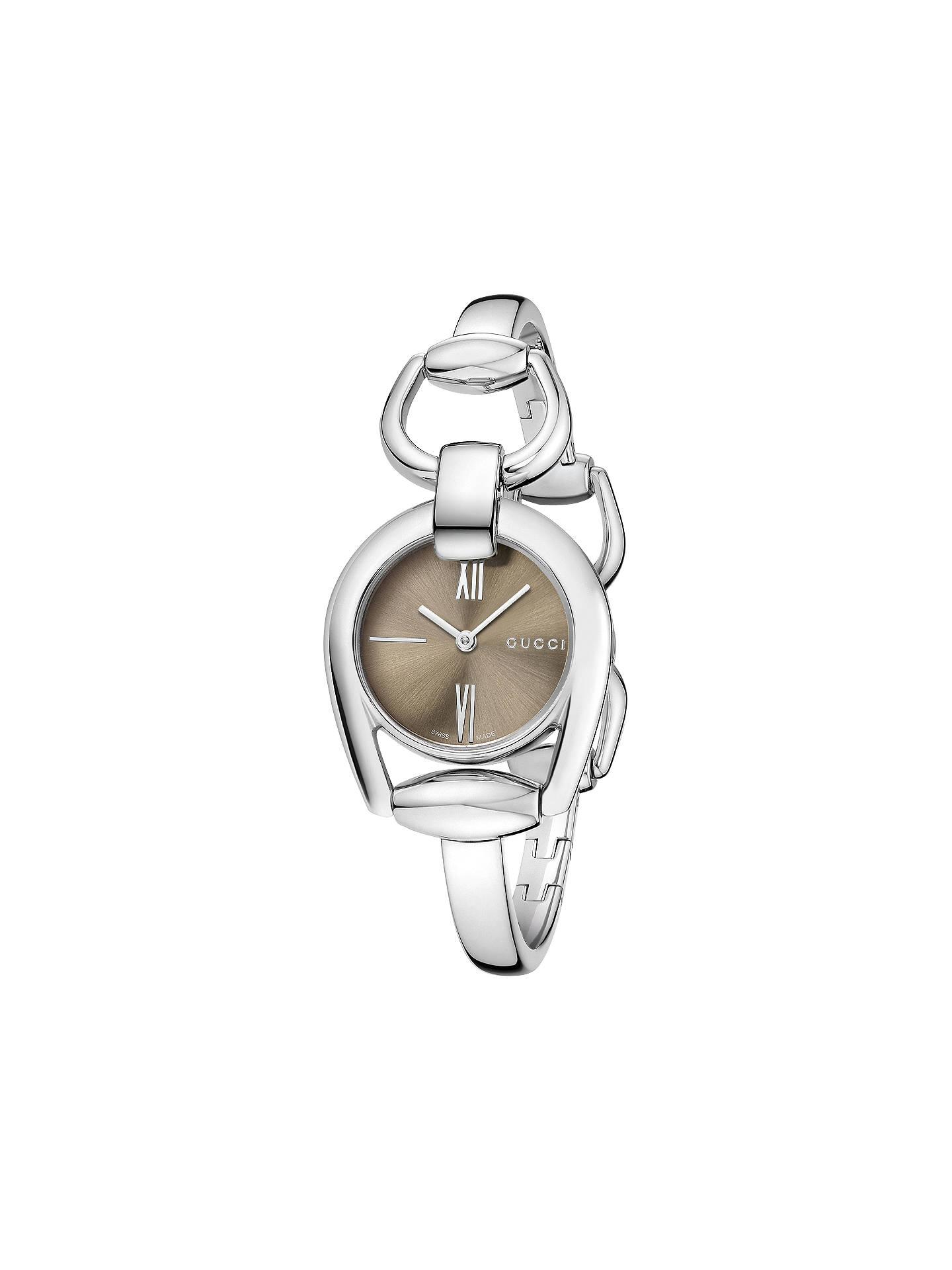 db4b5bfe044 Gucci YA139501 Women s Horsebit Stainless Steel Bangle Strap Watch ...