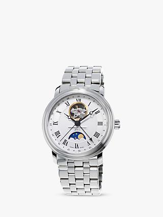 Frederique Constant FC-335MC4P6B2 Men's Moonphase Bracelet Strap Watch, Silver/White