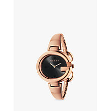 Buy Gucci YA134305 Women's Guccissima Bangle Strap Watch, Rose Gold/Black Online at johnlewis.com