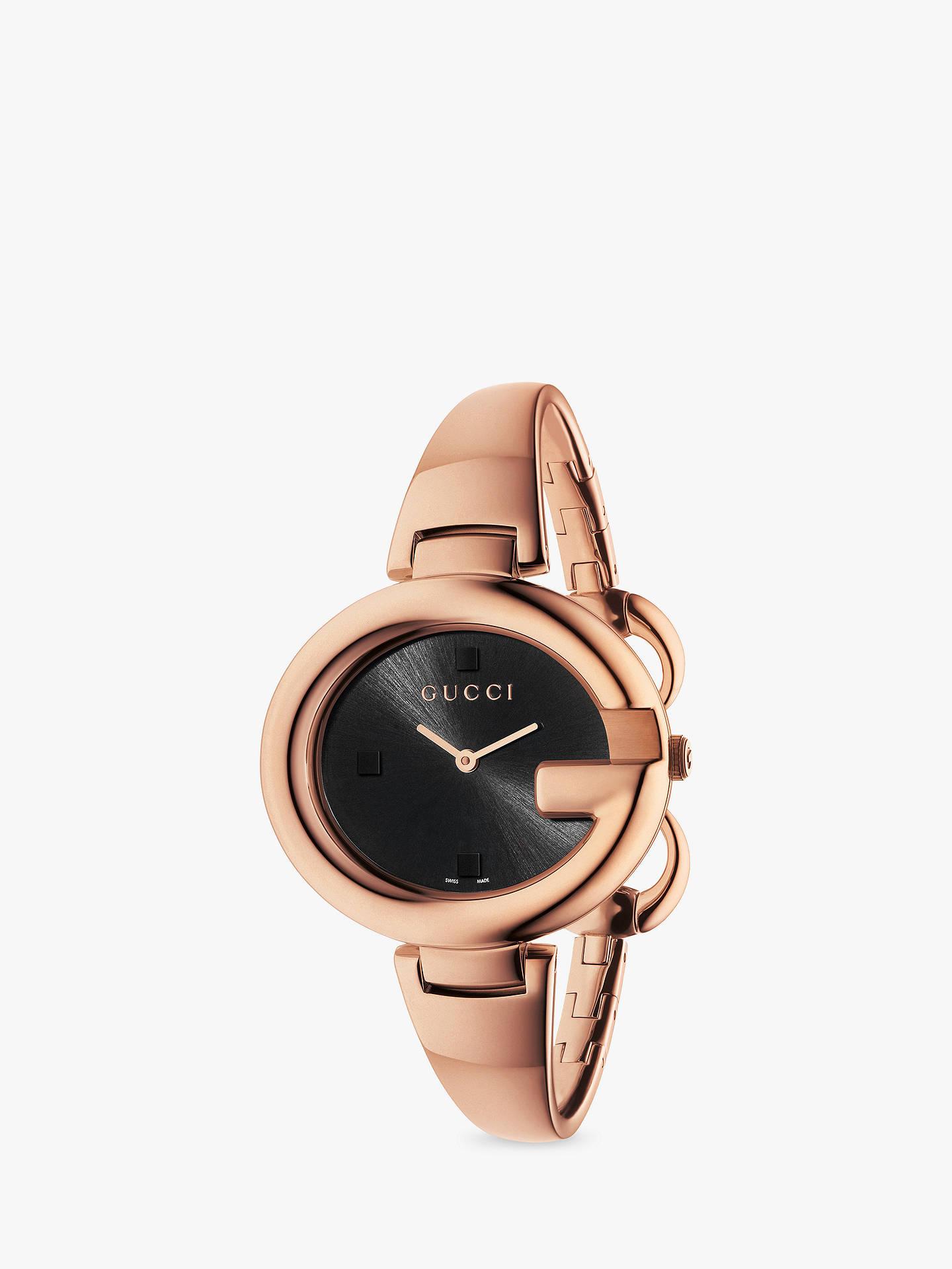 17209b886c630 Gucci YA134305 Women's Guccissima Bangle Strap Watch, Rose Gold/Black