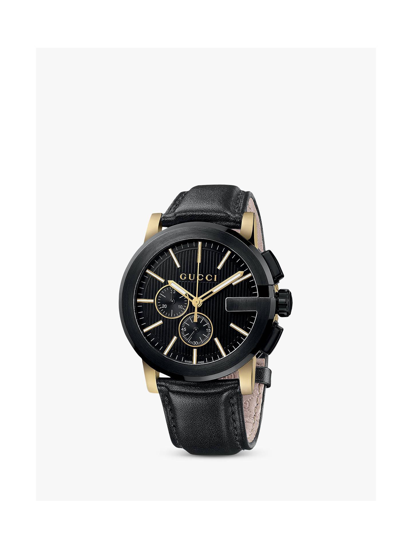 30b88c27e29 Buy Gucci YA101203 Men s G-Chrono Chronograph Leather Strap Watch