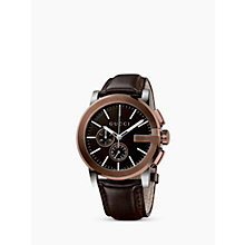 Buy Gucci YA101202 Men's G-Chrono Chronograph Leather Strap Watch, Brown Online at johnlewis.com