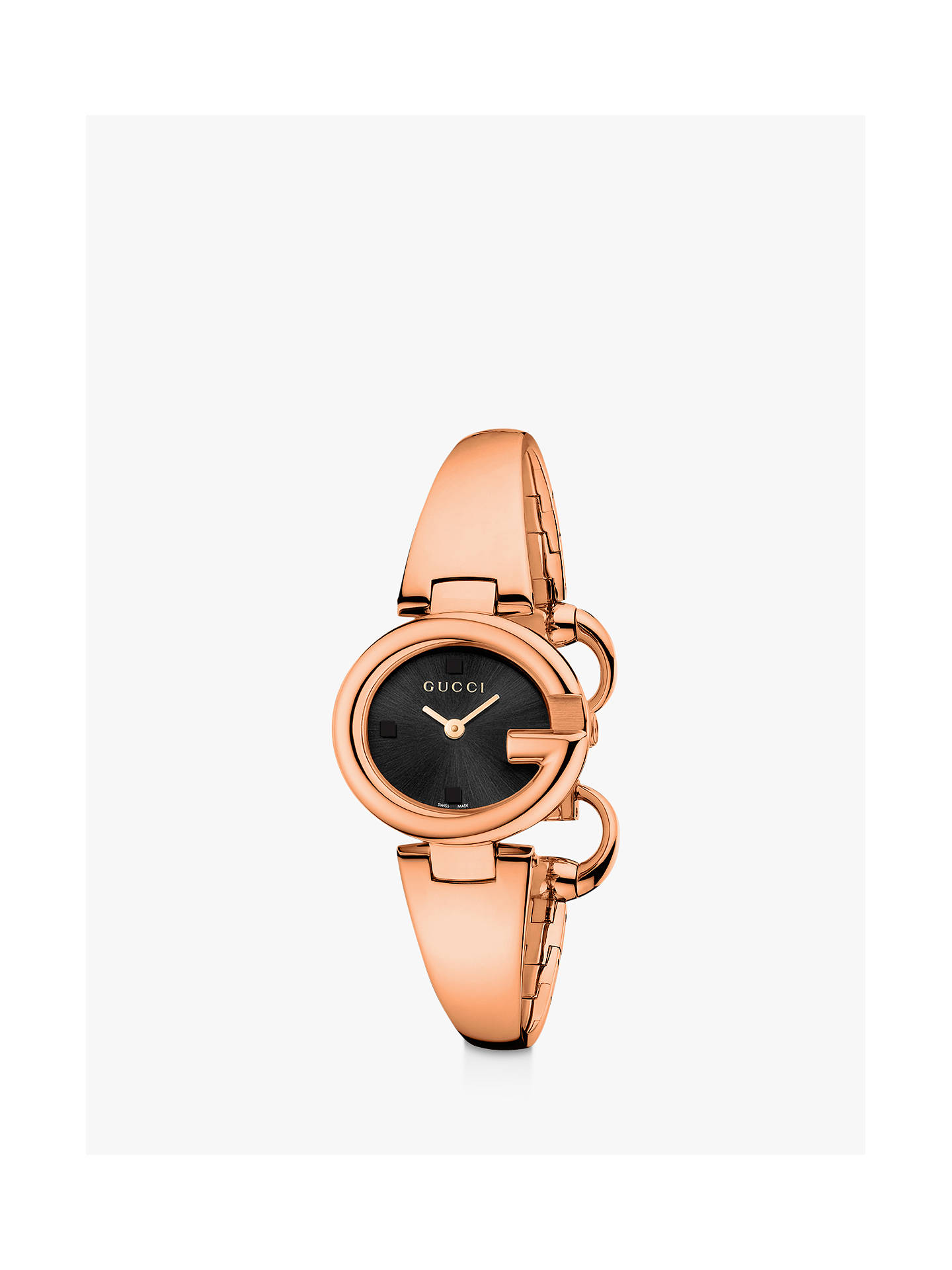 65b5405b053bb Gucci YA134509 Women's Guccissima Bangle Strap Watch, Rose Gold/Black