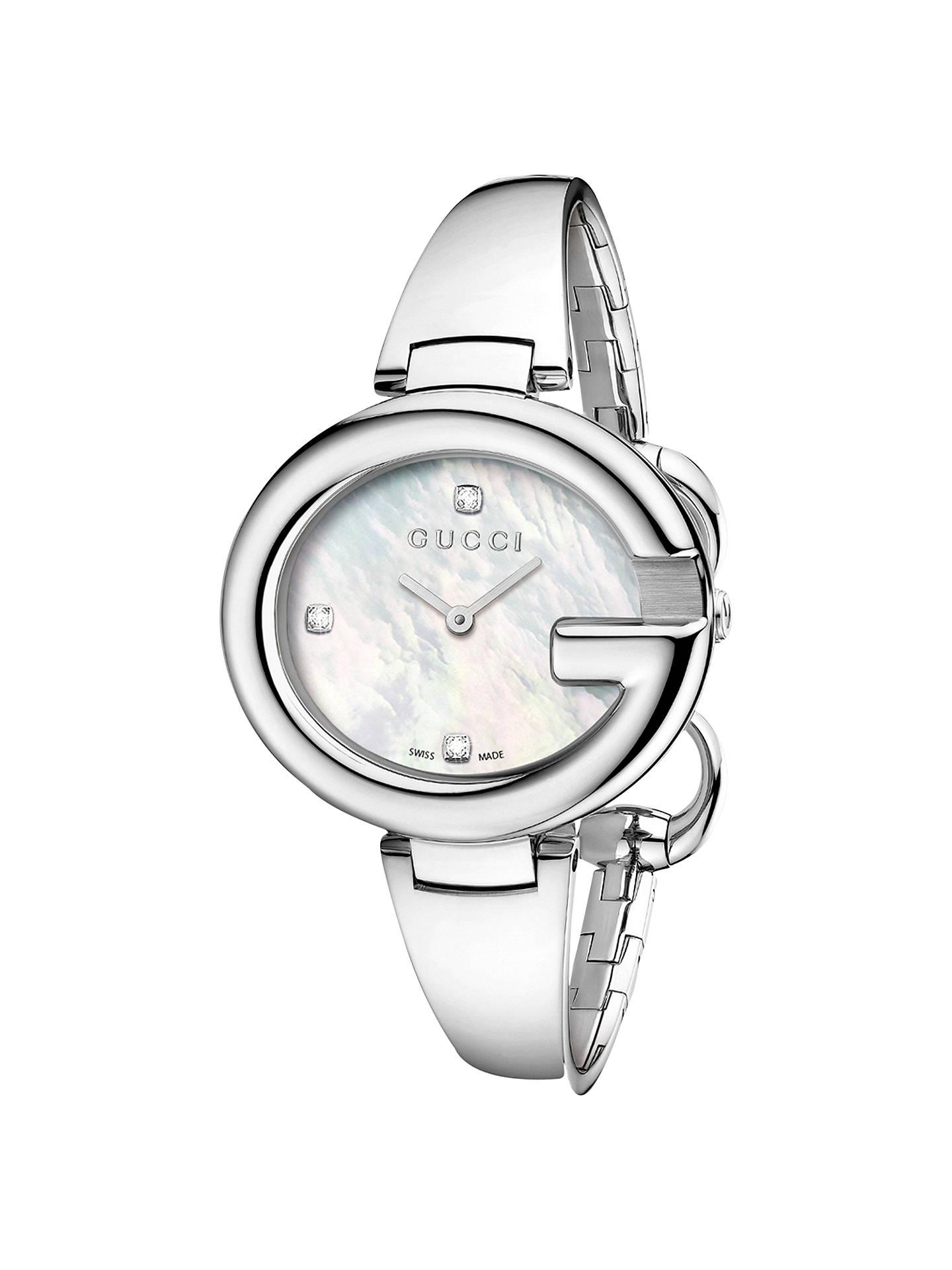 84ae6363f82 Buy Gucci YA134303 Guccissima Women s Diamond Set Mother Of Pearl Bracelet  Watch