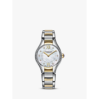 Raymond Weil 5124-SPS00985 Women's Noemia Mother of Pearl Diamond Bracelet Strap Watch, Silver/Gold