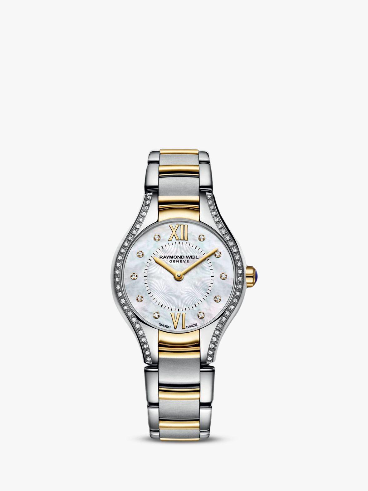 Raymond Weil Raymond Weil 5124-SPS00985 Women's Noemia Mother of Pearl Diamond Bracelet Strap Watch, Silver/Gold