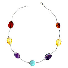 Buy Goldmajor Amber, Amethyst And Turquoise Sterling Silver Necklace Online at johnlewis.com