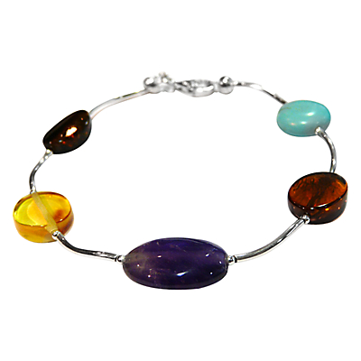 Goldmajor Amber Amethyst and Turquoise Sterling Silver Bracelet