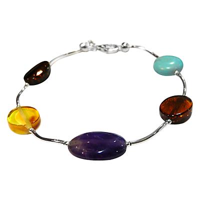 Goldmajor Amber Amethyst and Turquoise Sterling Silver Bracelet