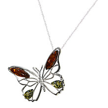 Buy Goldmajor Amber Sterling Silver And Amber Butterfly Pendant, Silver/Orange Online at johnlewis.com