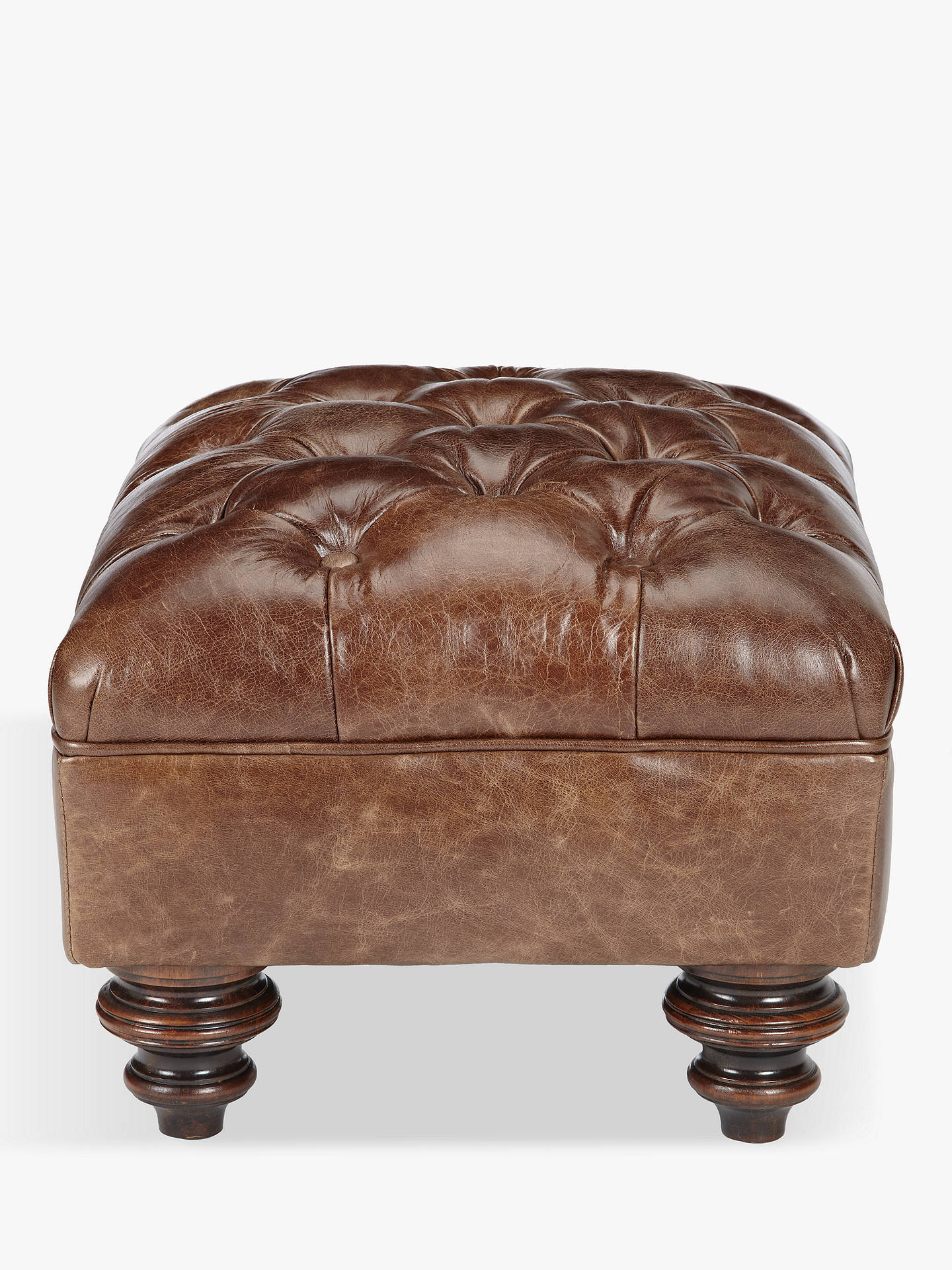 BuyJohn Lewis & Partners Claverdon Semi-Aniline Leather Footstool, Galveston Hide Online at johnlewis.com