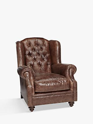 Claverdon Range, John Lewis & Partners Claverdon Semi-Aniline Leather Armchair, Galveston Hide