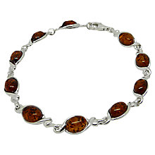 Buy Goldmajor Amber Silver Oval Link Bracelet, Amber Online at johnlewis.com