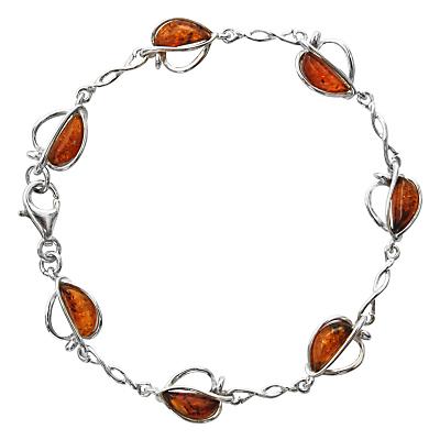 Goldmajor Sterling Silver Amber Split Apple Bracelet SilverCognac
