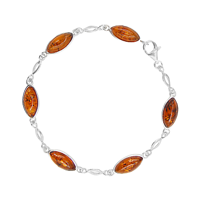 Goldmajor Sterling Silver Amber Marquise Chain Bracelet SilverCognac