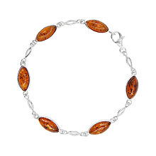 Buy Goldmajor Sterling Silver Amber Marquise Chain Bracelet, Silver/Cognac Online at johnlewis.com