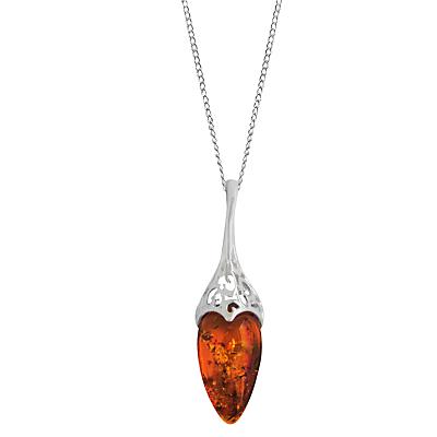 Goldmajor Sterilng Silver Amber Teardrop Filigree Pendant Necklace SilverCognac