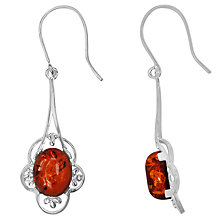 Buy Goldmajor Sterling Silver Amber Long Flower Drop Earrings, Silver/Cognac Online at johnlewis.com