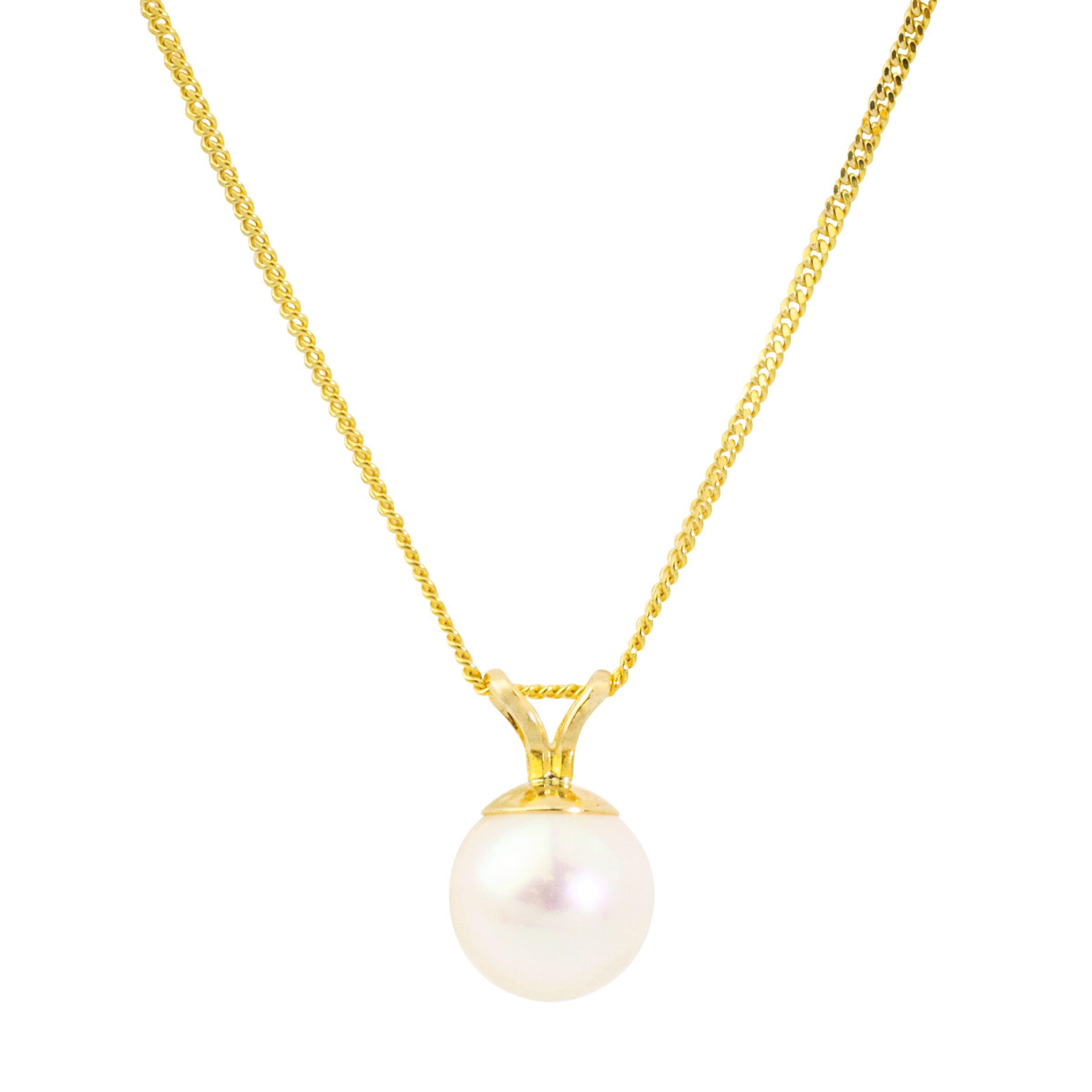 A B Davis A B Davis Freshwater Pearl Pendant Necklace, White Gold