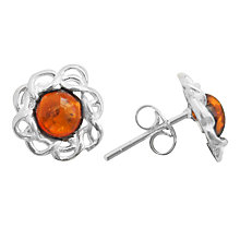 Buy Goldmajor Sterling Silver Amber Flower Stud Earrings, Silver/Cognac Online at johnlewis.com