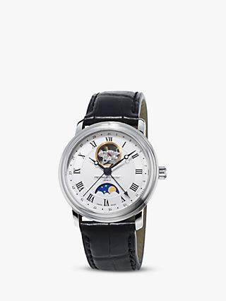 Frederique Constant FC-335MC4P6 Men's Moonphase Leather Strap Watch, Black/White