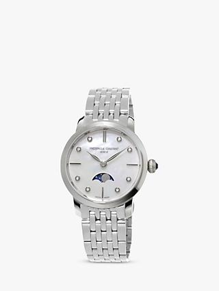 Frederique Constant FC-206MPWD1S6B Women's Moonphase Diamond Bracelet Strap Watch, Silver/Mother Of Pearl