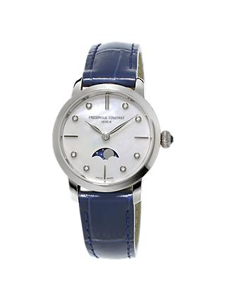 Frédérique Constant FC-206MPWD1S6 Women's Moonphase Diamond Leather Strap Watch, Blue/Mother of Pearl